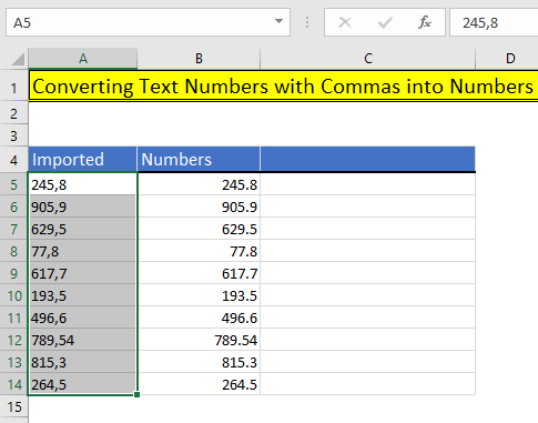 Output using Excel's Text to Columns in Excel