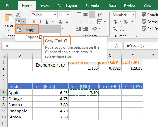 Copy command in MS Excel