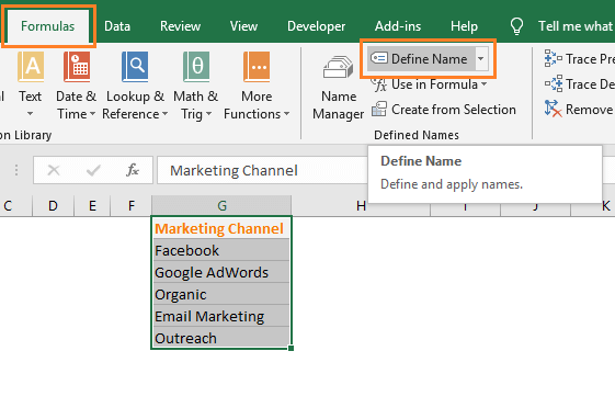 define name command in excel
