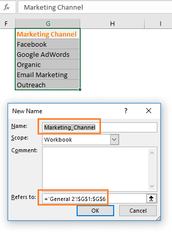 New Name dialog box in Excel