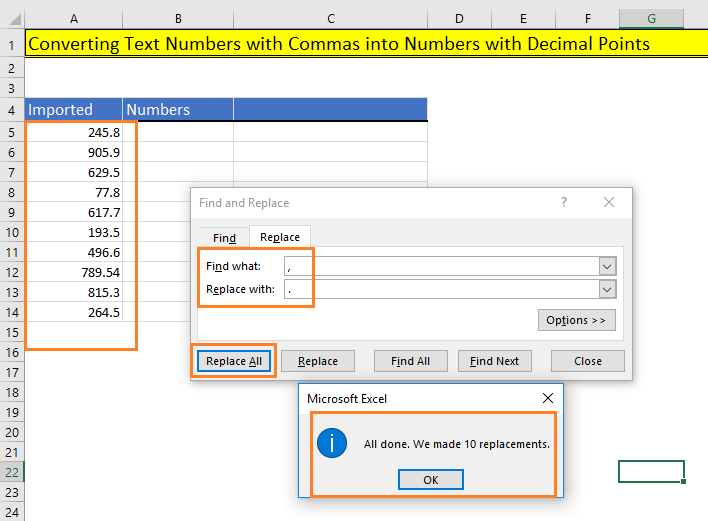 Replace all commas with decimal points in Excel