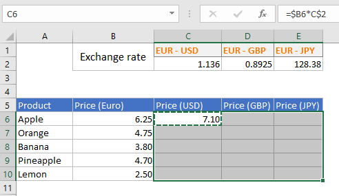 Selection of an Excel range