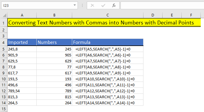 Use of LEFT Function in Excel