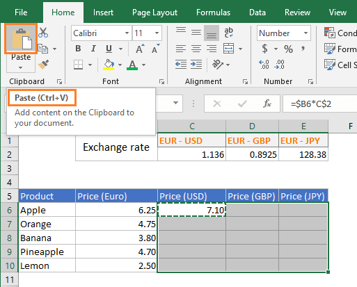 Paste command in MS Excel