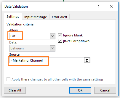 data validation dialog box in excel