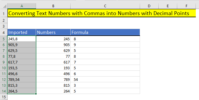 Numbers in two columns in Excel
