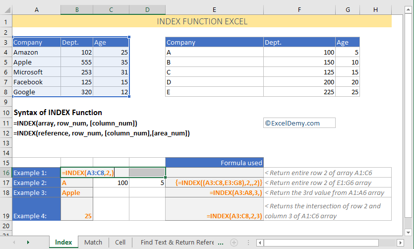 Excel INDEX function with array formula