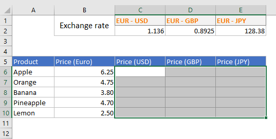 select a cell range in excel