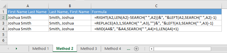 How to switch first and last name in Excel with comma