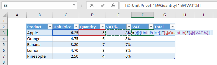 Insert formula in an excel table