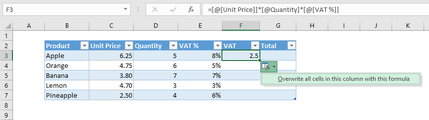 Applying same formula to multiple cells in an Excel table