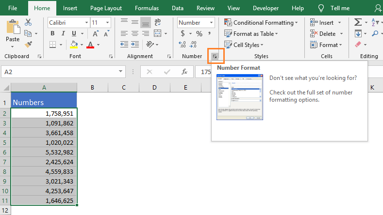 Open format Cells dialog box