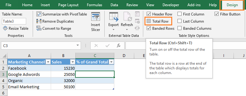 showing total row in excel table