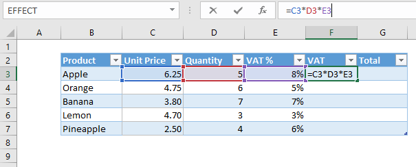 Using regular cell references in an Excel table formula