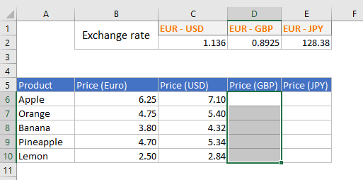 Selection of a column in Excel