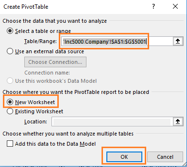 create pivot table dialog box in excel