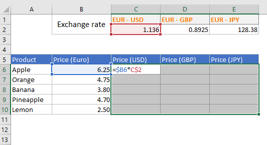 Entering formula in a range of Excel