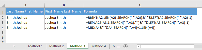 Switch the first name and last name in Excel