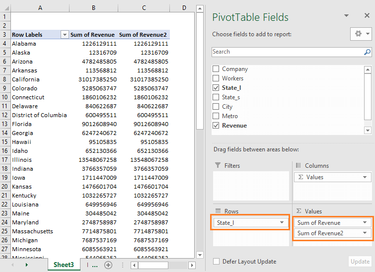 excel pivot table example