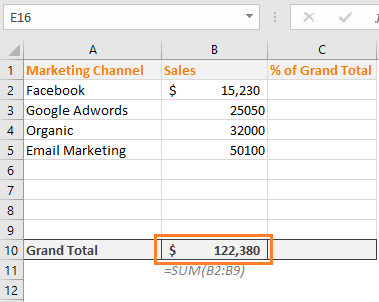 calculating grand total in excel