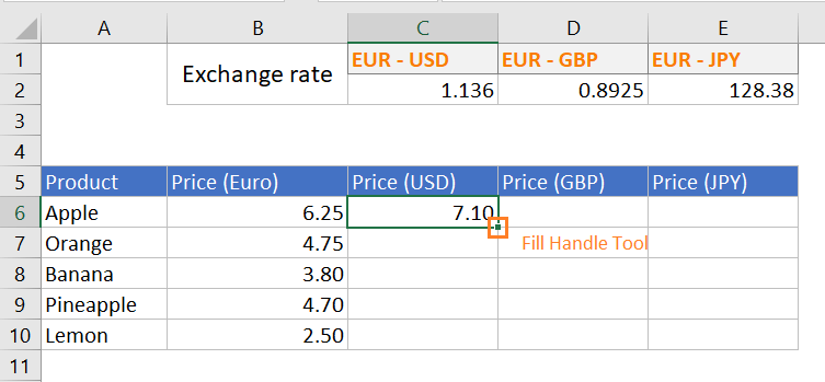 Excel Fill Handle Feature