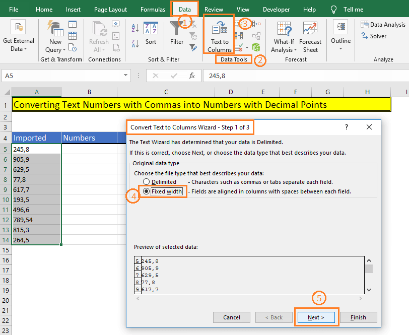 Open Text to Columns Wizard in Excel