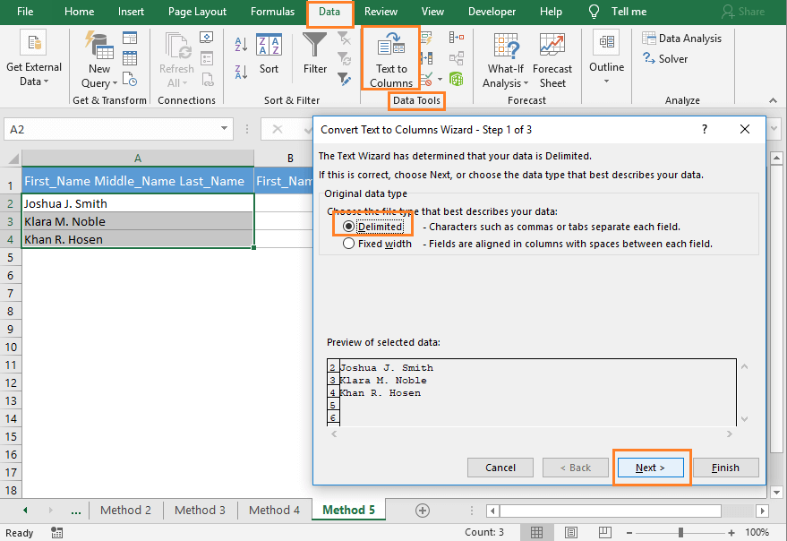 Open Text to Columns feature in Excel