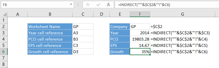 Excel cell reference and indirect function