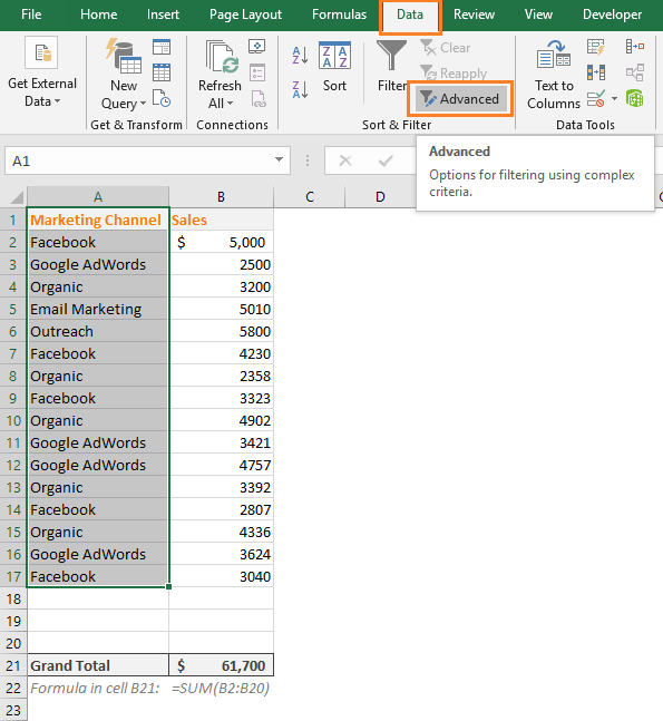 advanced filter command in excel