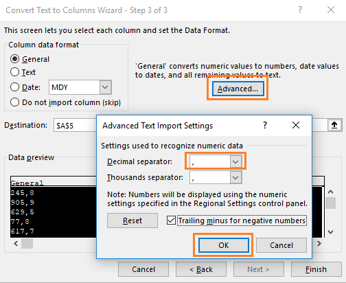 Advanced Text Import Settings in Excel