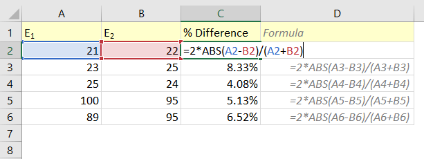 Calculate Percent Difference in Excel