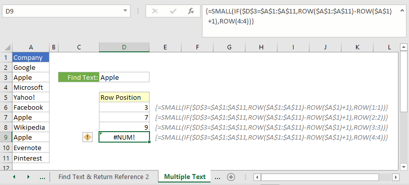 Find a text that repeats more than once in a range and return the row references