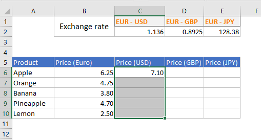 An Excel range is selected.