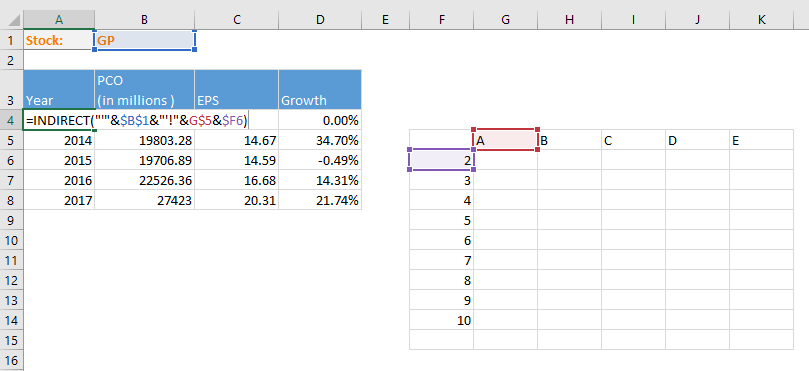 Excel reference cell in another sheet based on cell value
