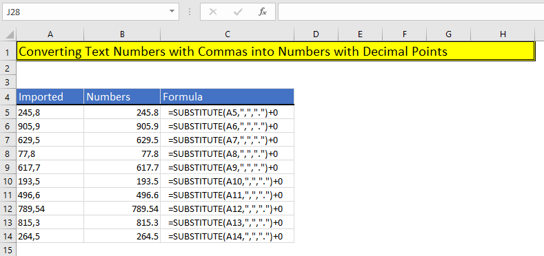 How to remove commas in Excel using Formula