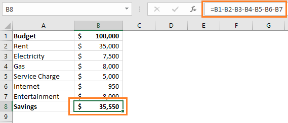 Subtract multiple cells from one cell in Excel direct method