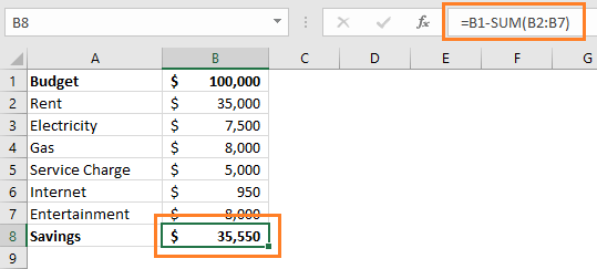 Subtract multiple cells from one cell in Excel using SUM Function