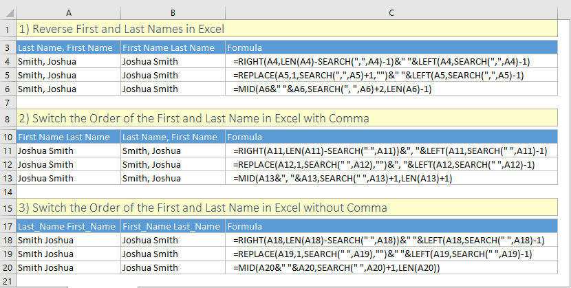 Switch first and last names in excel