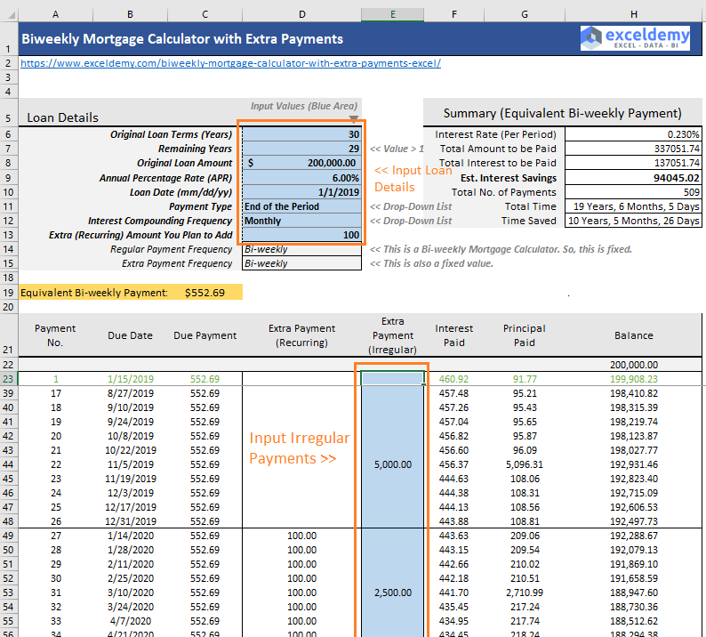 Biweekly Mortgage Calculator With Extra Payments Free Excel Template