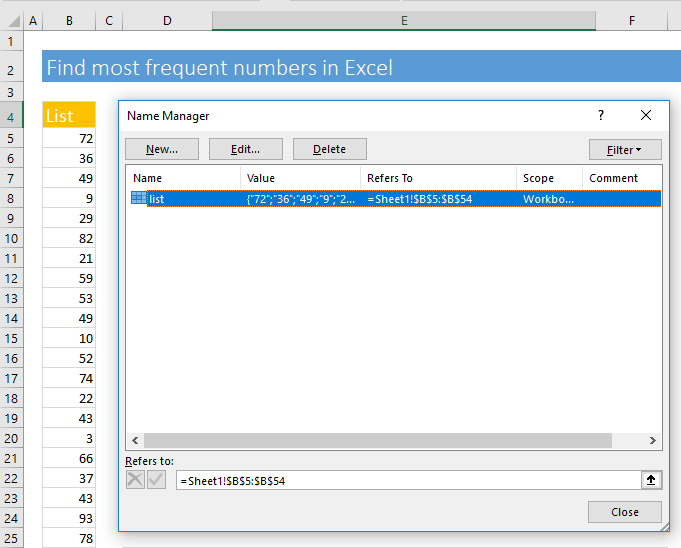 Name Manager dialog box. We have given the range of cells a name.