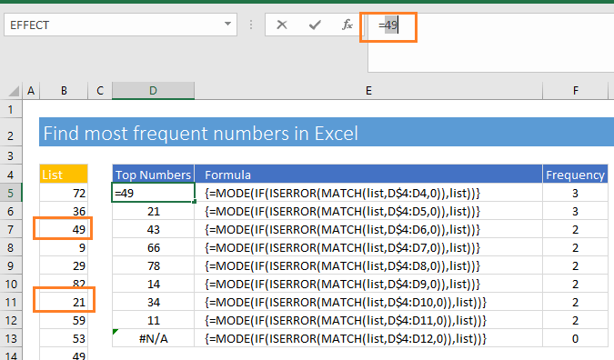 Mode function returns the most frequent number in Excel