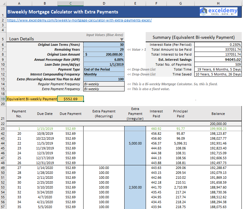 biweekly mortgage calculator with extra payments  free