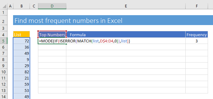 Enter an Excel formula to find top numbers in Excel