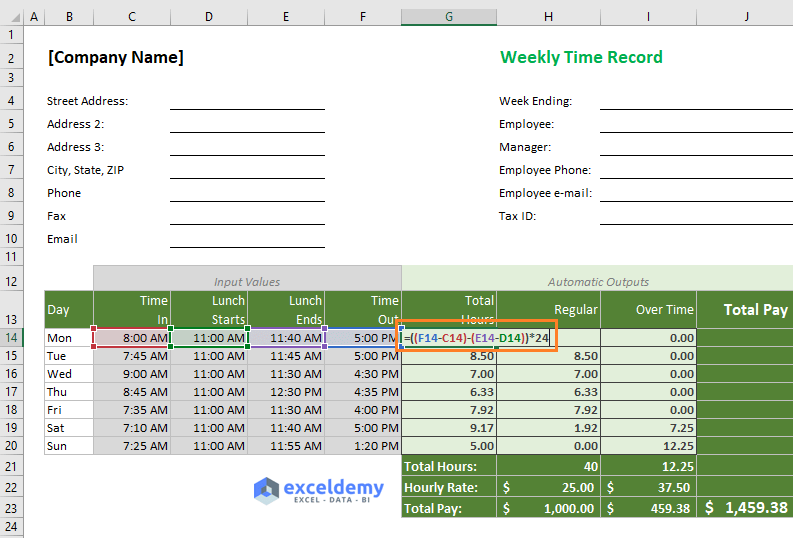 Excel formula to calculate total hours