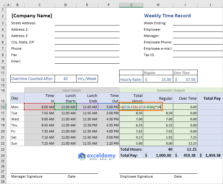 excel formula to calculate total hours worked