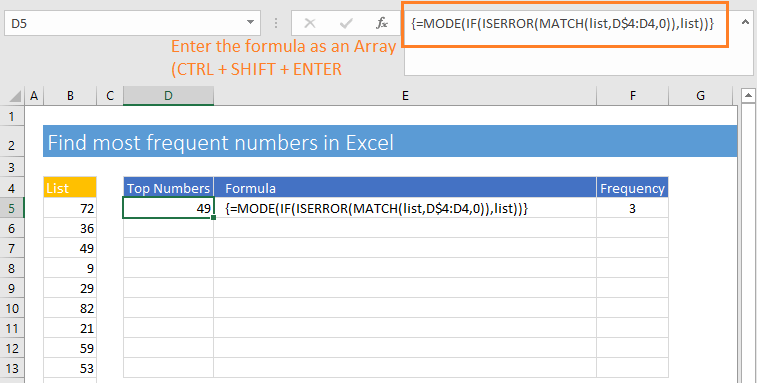 An Excel array formula to find the most frequent numbers in Excel