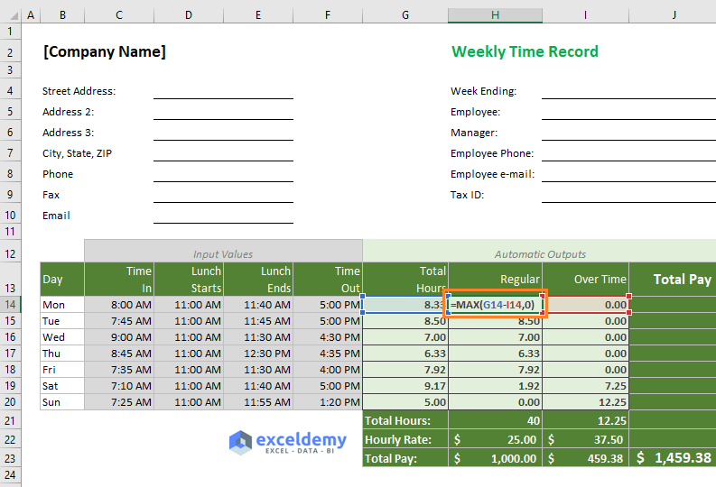 Calculate regular working hours