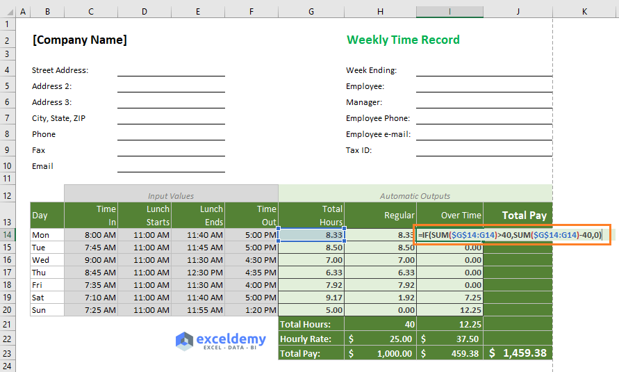 Excel formula for calculating over time over 40 hours