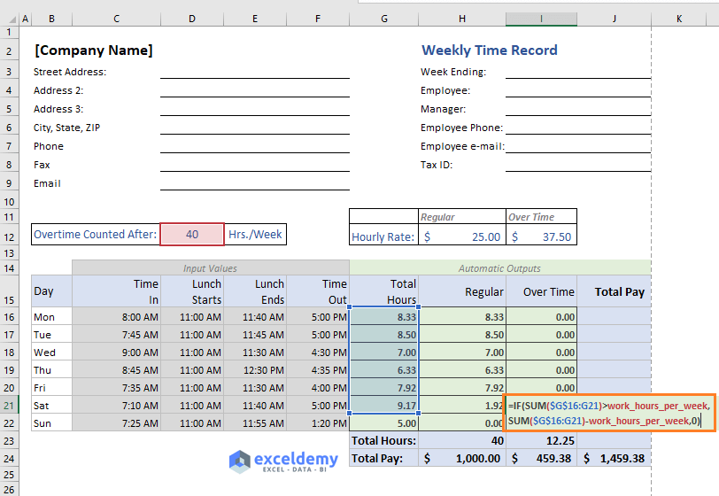 excel formula to calculate overtime