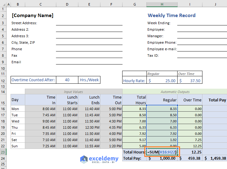 Total regular hours calculated